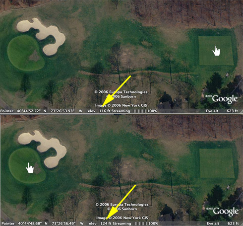 Google Earth Bethpage 14th Hole