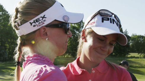 Morgan Pressel and Azahara Munoz at the 2012 Sybase Match Play