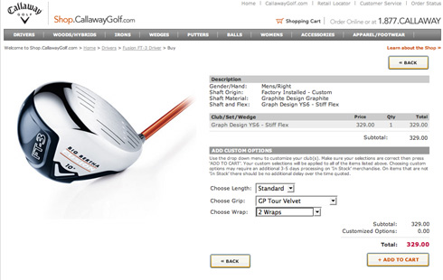 Callaway Order Page Example