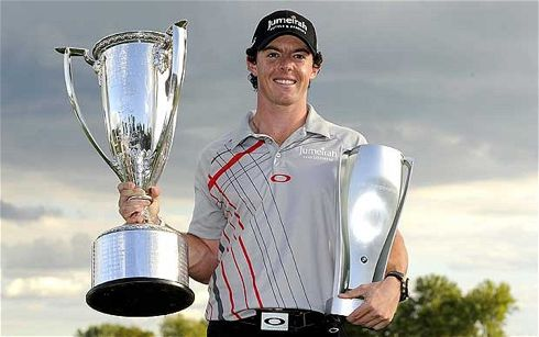 Rory McIlroy Holding the trophy for the 2012 BMW Championship