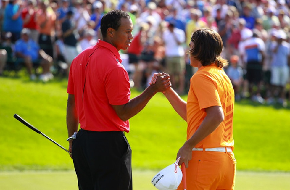 Rickie Fowler Tiger Woods 2012 Memorial Sunday Handshake
