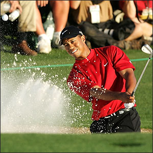 Tiger Woods at the 18th Hole at Augusta