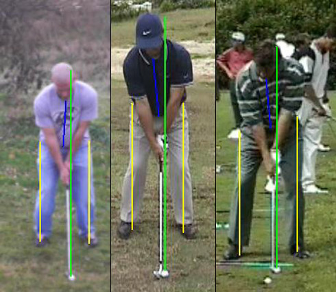 Troy vs. Immelman and Faldo iron setup face on view