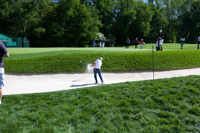 Bill Haas Hitting out of the Bunker on 16
